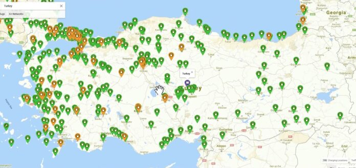 türkiye elektrikli araç şarj cihazları haritası